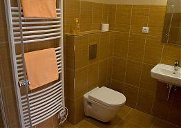 Toaleta a umyvadlo v koupelně