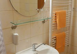 Umyvadlo a sušící žebřík v koupelně.